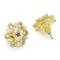 Estele 24Kt Gold And Silver Tone Plated Pink And White  Ad Stone Earrings