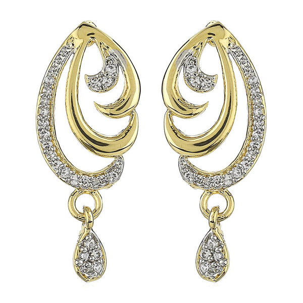Estele 24Kt Gold And Silver Tone Plated White Stone Drop Earrings