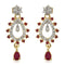 Estele 24Kt Gold And Silver Tone Plated Pink And White AD Stone Drop Earrings