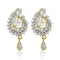 Estele 24Kt Gold And Silver Tone Plated Drop Earring With White AD Stones