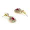 Estele 24Kt Gold Tone Plated White And Pink Ad Stone Drop Earrings