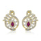 Estele 24Kt Gold Tone Plated White & Pink Ad Stone Stud Earrings
