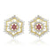 Estele 24Kt Gold Tone Plated White And Pink Ad Stone Stud Earrings