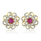Estele 24Kt Gold And Silver Tone Plated Round Stud Earring With Pink & White Ad Stones