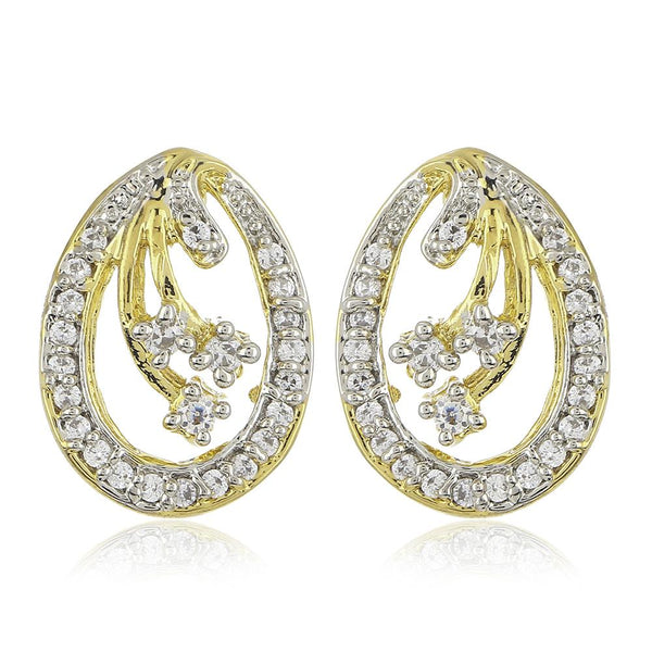Estele 24Kt Gold And Silver Tone Plated White AD Stone Stud Earrings