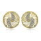 Estele 24Kt Gold And Silver Tone Plated AD Stone Earring For Women