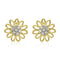 Estele 24Kt Gold And Silver Tone Plated Flower Shaped Stud Earrings