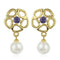 Estele 24Kt Gold Tone Plated Pearl Drop Earrings
