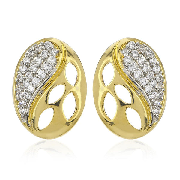 Estele 24Kt Gold And Silver Tone Plated White AD Stone Earrings