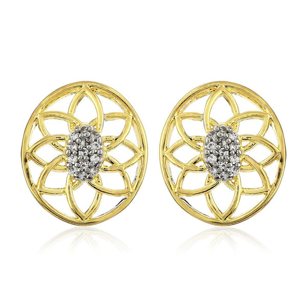 Estele 24Kt Gold And Silver Tone Plated White AD Stone Round Earrings