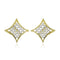 Estele 24Kt Gold Tone Plated Square Shaped White AD Stone Stud Earrings