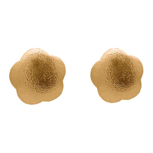 Beadside Antique Gold Plated Floral Design Stud Earrings