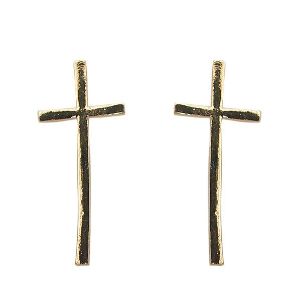 Beadside Gold Plated Cross Shaped Stud Earrings