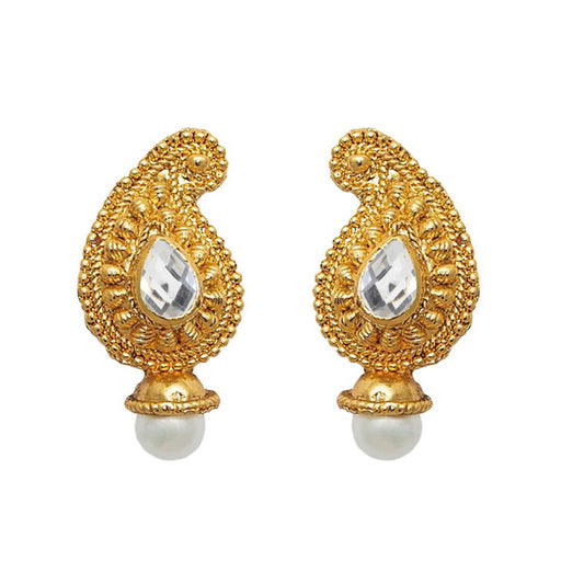 Beadside Kundan Pearl Drop Gold Plated Dangler Earring