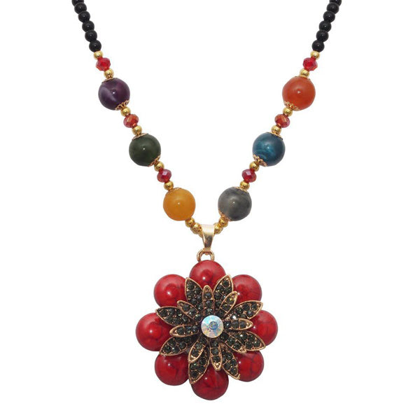 Beadside Red Beads Gold Plated Stone Floral Nacklace