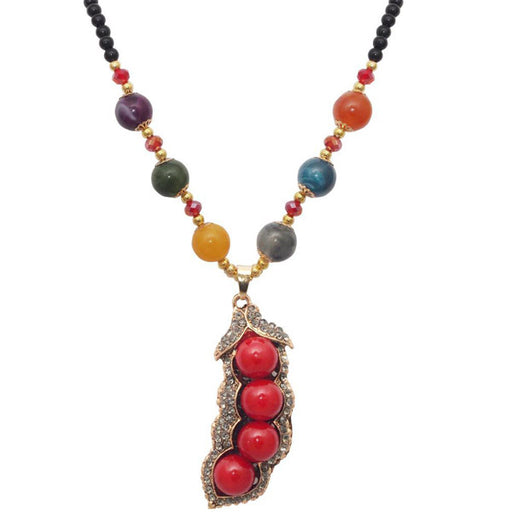 Beadside Red Beads Gold Plated Stone Tamarind Nacklace