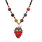 Beadside Red Beads Gold Plated Stone Grapes Nacklace