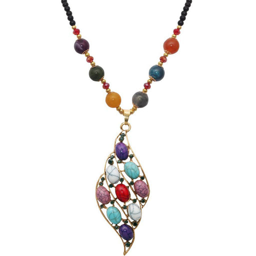 Beadside Multi Beads Gold Plated Austrian Stone Nacklace