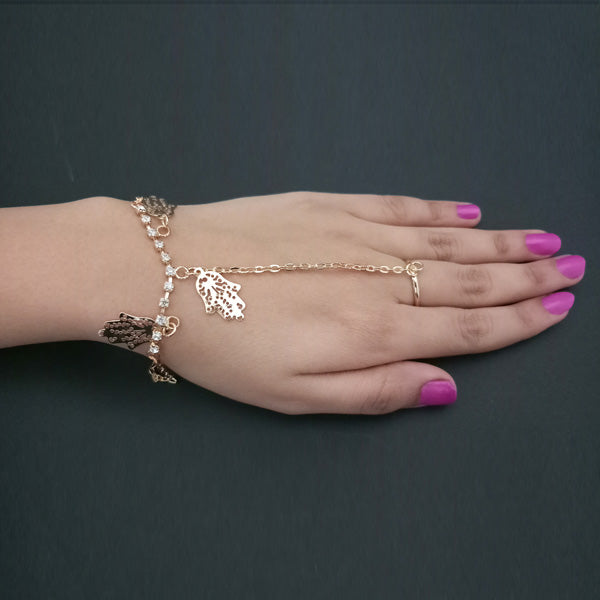 Eugenia Gold Plated Austrian Stone Chain Hand Harness