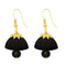 The99jewel Black Pearl Drop Gold Plated Thread Jhumki