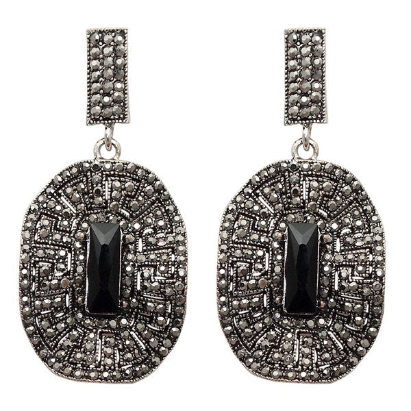 Jeweljunk Black Marcasite Stone Oxidised Dangler Earring