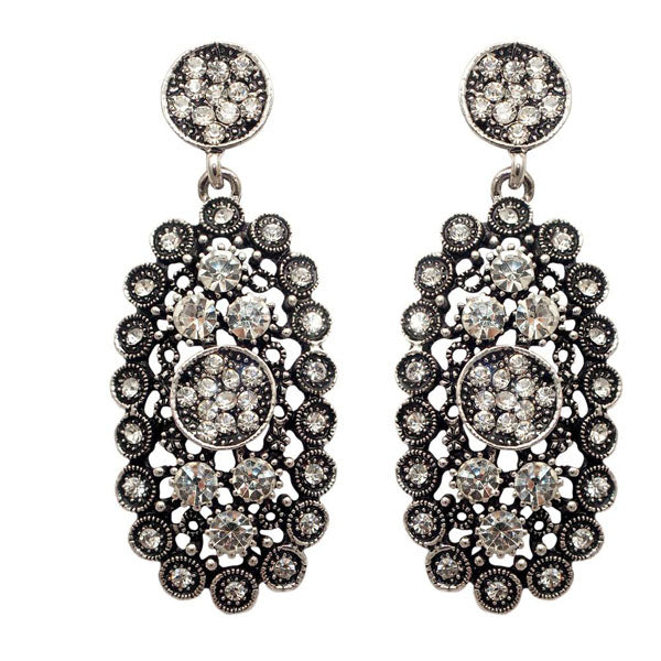 Jeweljunk Marcasite Stone Oxidised Dangler Earring