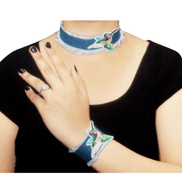 Jeweljunk Denim Choker Necklace With Bracelet