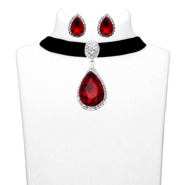 Jeweljunk Red Austrian Stone Choker Necklace Set