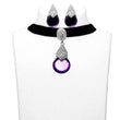 Jeweljunk Purple Stone Silver Plated Choker Necklace Set