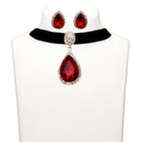 Jeweljunk Red Stone Gold Plated Choker Necklace Set