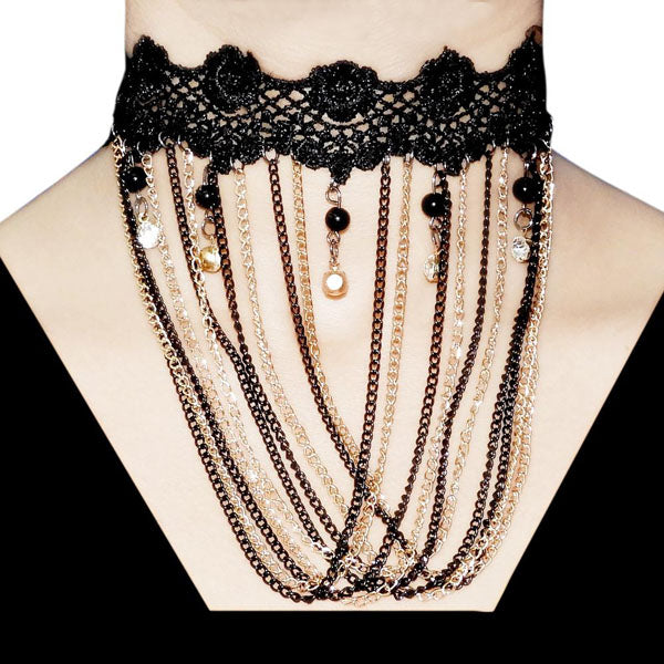 Jeweljunk Lace Gold Plated Multi Drop Chain Choker Necklace