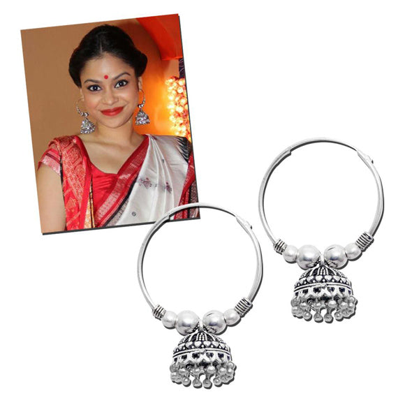Jeweljunk Oxidised Round Shaped Drop Jhumki Earrings