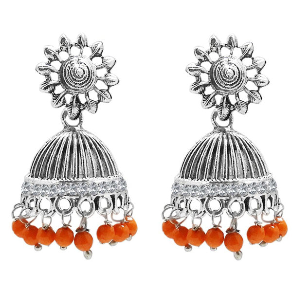 Jeweljunk Orange Beads Austrian Stone Afghani Jhumki Earrings