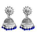 Jeweljunk Blue Beads Austrian Stone Afghani Jhumki Earrings