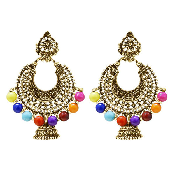 Jeweljunk Antique Gold Plated Multi Beads Chandbali Earrings