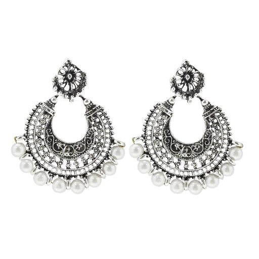 Jeweljunk Rhodium Plated White Beads Chandbali Earrings - Jewelmaze.com