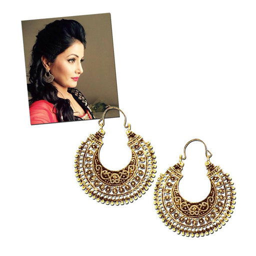 Jeweljunk Antique Gold Plated Chandbali Earrings