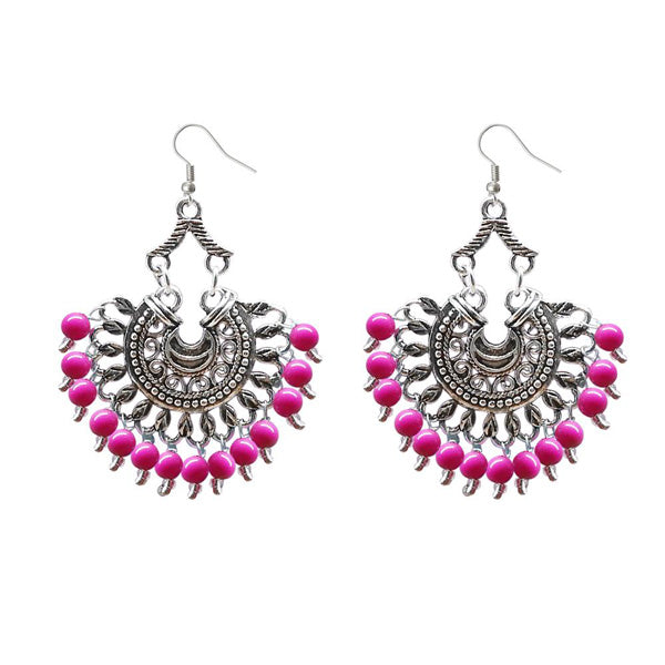 Jeweljunk Beads Silver Plated Afghani Dangler Earrings