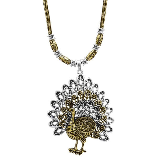 Jeweljunk 2 Tone Plated Peacock Design Boho Necklace