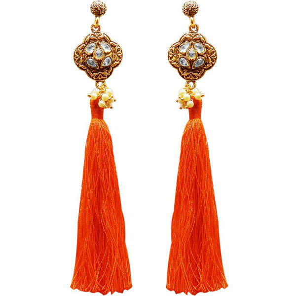 Jeweljunk Gold Plated Kundan Pearl Orange Thread Earring