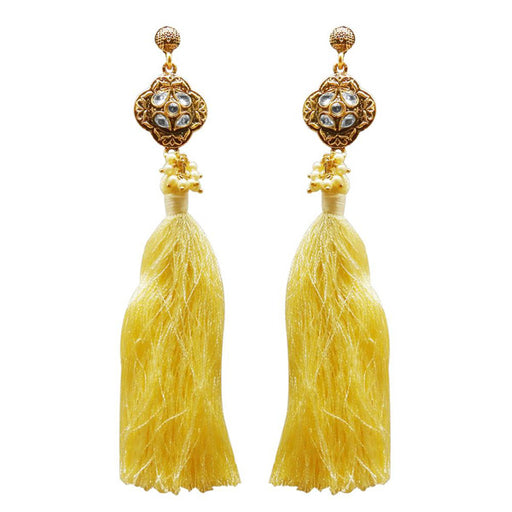 Jeweljunk Kundan Pearl Yellow Thread Gold Plated Earring