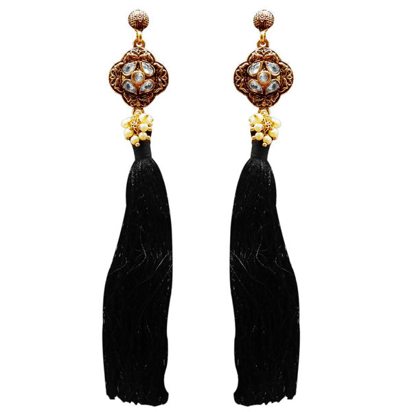 Jeweljunk Gold Plated Kundan Pearl Black Thread Earring