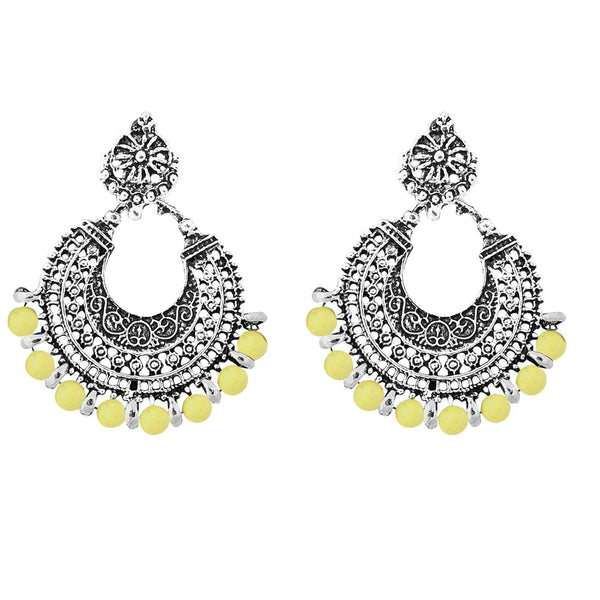 Jeweljunk Beads Rhodium Plated Afghani  Earrings