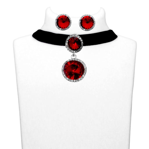 Jeweljunk Maroon Stone Silver Plated Choker Necklace Set