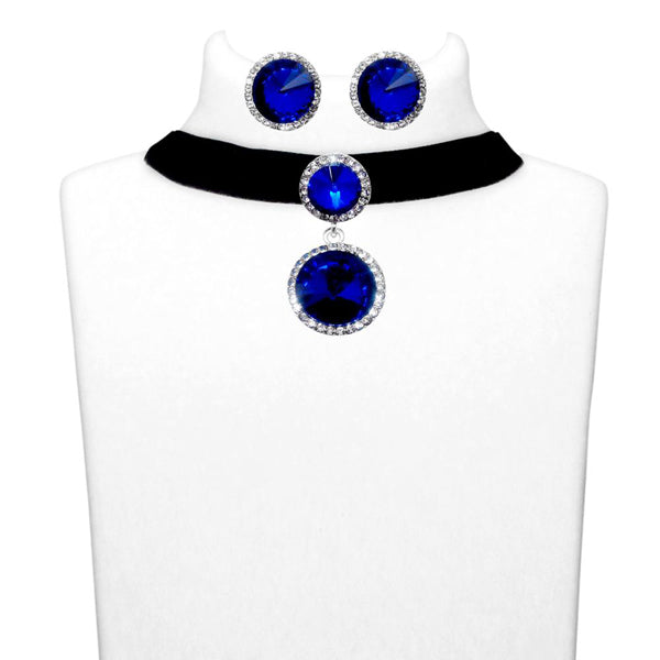 Jeweljunk Blue Stone Silver Plated Choker Necklace Set