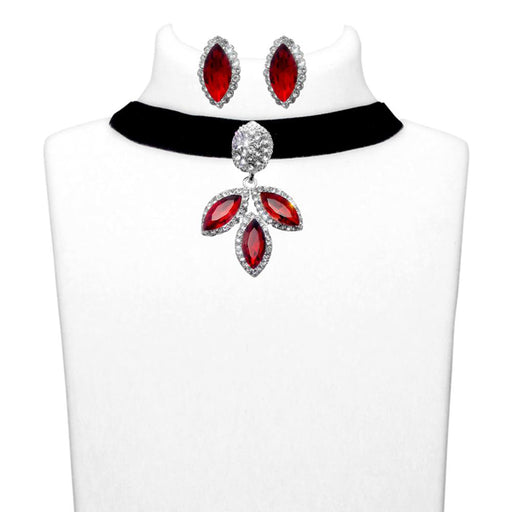 Jeweljunk Red Stone Silver Plated Choker Necklace Set