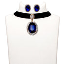 Jeweljunk Blue Stone Gold Plated Choker Necklace Set