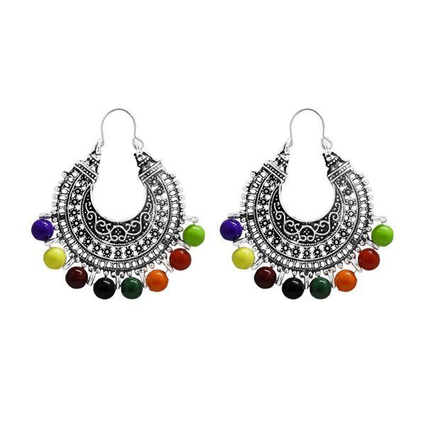 Jeweljunk Silver Plated Multi Beads Afghani Earrings