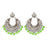 Jeweljunk Silver Plated Green Beads Afghani Earrings