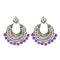 Jeweljunk Silver Plated Purple Beads Afghani Earrings